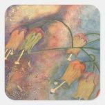 Flores de la madreselva del arco iris colcomanias cuadradass