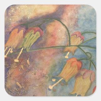 Flores de la madreselva del arco iris pegatina cuadrada