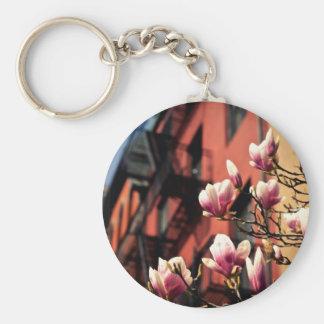 Flores de la magnolia - New York City Llavero Redondo Tipo Pin