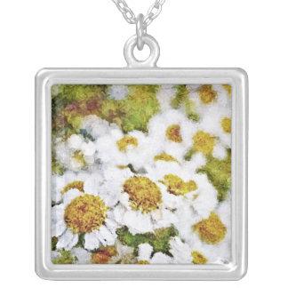 Flores de la margarita blanca - collar del arte de