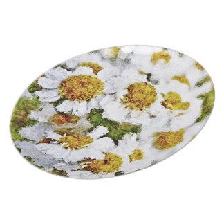 Flores de la margarita blanca - placa del arte de  platos