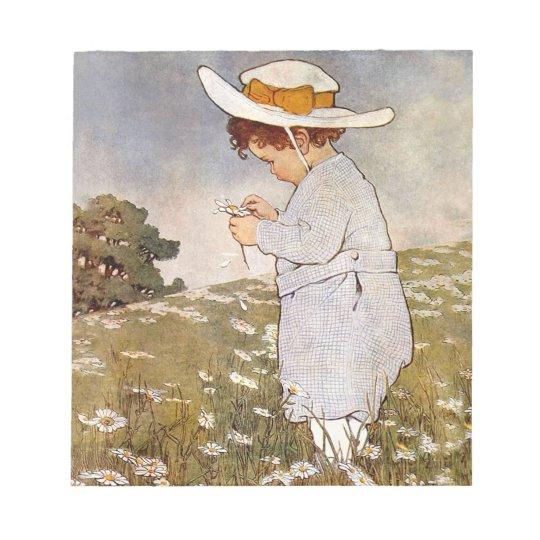 Flores de la margarita de la cosecha del niño del bloc de notas