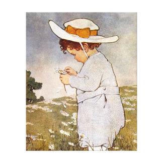 Flores de la margarita de la cosecha del niño del  impresiones en lona estiradas