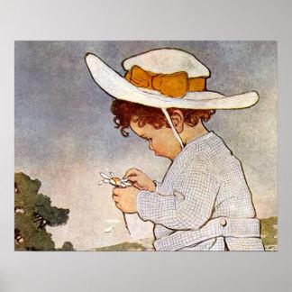 Flores de la margarita de la cosecha del niño del  posters