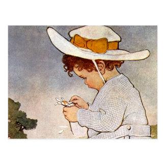 Flores de la margarita de la cosecha del niño del  tarjetas postales