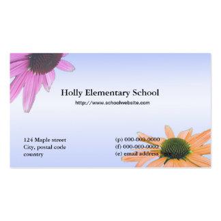 Flores de la margarita del profesor de escuela tarjetas de visita