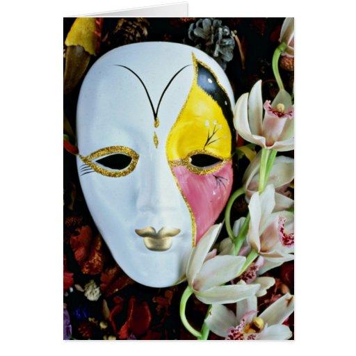 Flores de la máscara tarjeta de felicitación