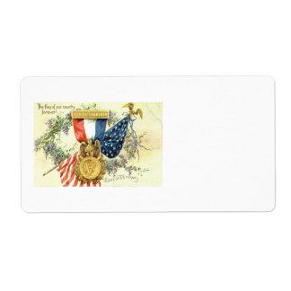 Flores de la medalla de la guirnalda de la bandera etiquetas de envío