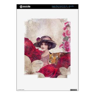 Flores de la mujer del tigre del vintage de la pegatina skin para iPad 3