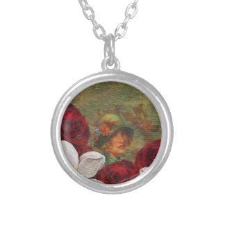 Flores de la mujer del vintage de la pintura de colgante redondo