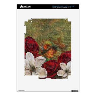 Flores de la mujer del vintage de la pintura de pegatina skin para iPad 3