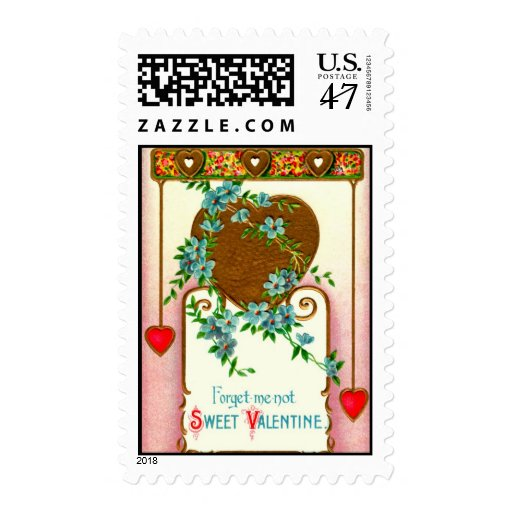 Flores de la nomeolvides de la tarjeta del día de sello
