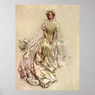 Flores de la novia del Victorian del vintage, Póster