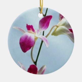 Flores de la orquídea de Singapur Adorno Navideño Redondo De Cerámica