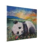 Flores de la panda impresión en lienzo