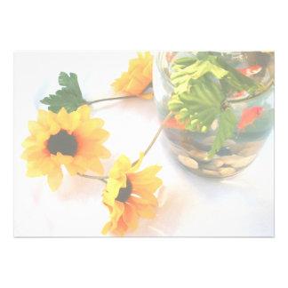 Flores de la pieza central del boda del Goldfish Invitación Personalizada