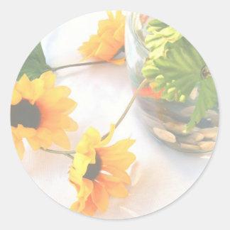 Flores de la pieza central del boda del Goldfish, Pegatinas Redondas