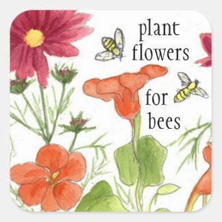 Flores de la planta para las flores de la pegatina cuadrada