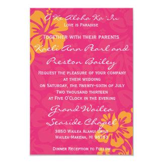 Flores de la playa - azalea/naranja invitación 8,9 x 12,7 cm