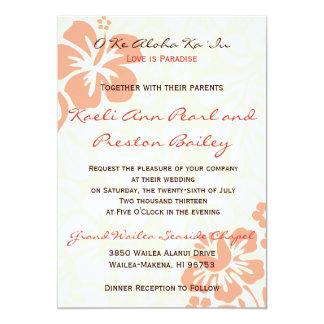 Flores de la playa - coral (5x7) invitaciones personalizada
