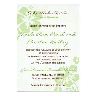 """Flores de la playa - verde (5x7) invitación 5"""" x 7"""""""