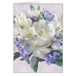 Flores de la primavera. Azafranes y tarjeta de la