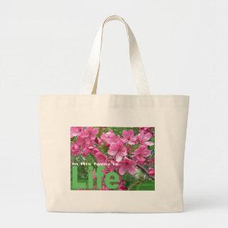 Flores de la primavera bolsa tela grande