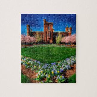 Flores de la primavera del jardín del castillo de puzzle con fotos