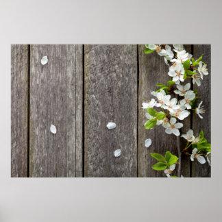 Flores de la primavera en fondo de madera de la ta posters