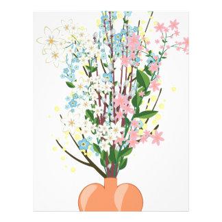 Flores de la primavera en un florero membrete personalizado
