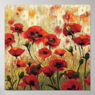 Flores de la primavera en un jardín póster