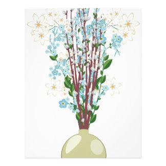 Flores de la primavera en un Vase2 Plantilla De Membrete