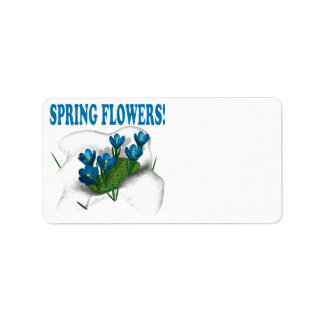 Flores de la primavera etiqueta de dirección