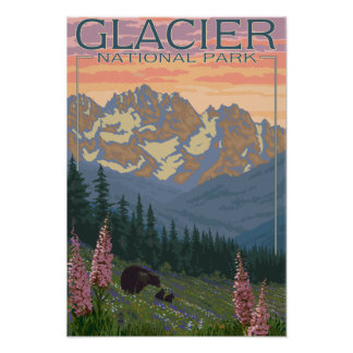 Flores de la primavera - Parque Nacional Glacier,  Poster