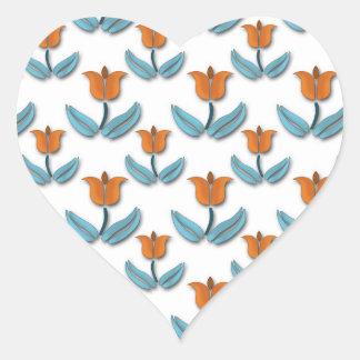 Flores de la primavera calcomanía de corazón personalizadas