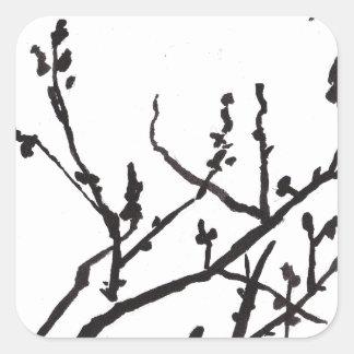 Flores de la primavera calcomanía cuadradas personalizadas