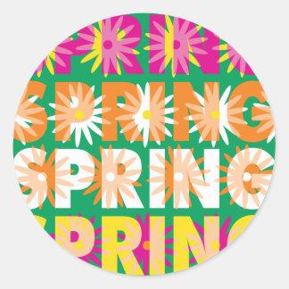 Flores de la primavera pegatina redonda