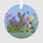 Flores de la primavera, petirrojo, y conejo de con