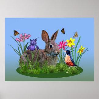 Flores de la primavera petirrojo y conejo de con posters