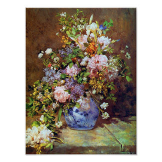 Flores de la primavera por la impresión de Renoir Póster
