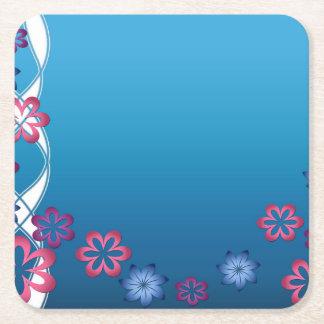 Flores de la primavera posavasos de cartón cuadrado