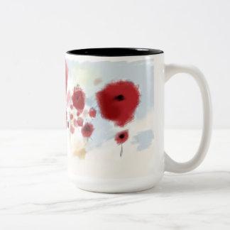 Flores de la primavera roja taza de dos tonos