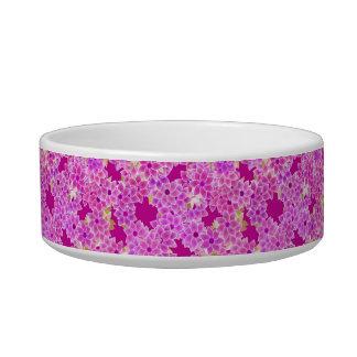 Flores de la púrpura, de la lavanda y del ciruelo, comedero para mascota