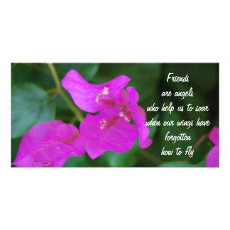 Flores de la púrpura de los amigos tarjeta personal con foto