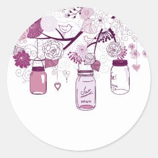 Flores de la púrpura de los tarros de albañil del pegatinas redondas