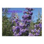 Flores de la púrpura del árbol casto invitación 12,7 x 17,8 cm