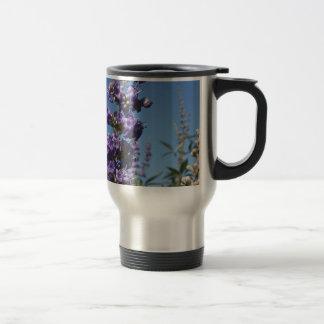 Flores de la púrpura del árbol casto taza de viaje de acero inoxidable