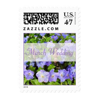 Flores de la púrpura del boda de marzo timbres postales