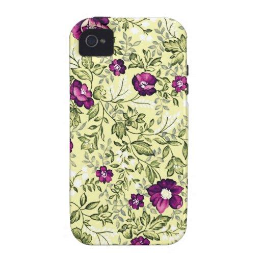Flores de la púrpura del vintage carcasa para iPhone 4/4S