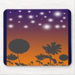 Flores de la sombra en la puesta del sol Mousepad Alfombrillas De Raton
